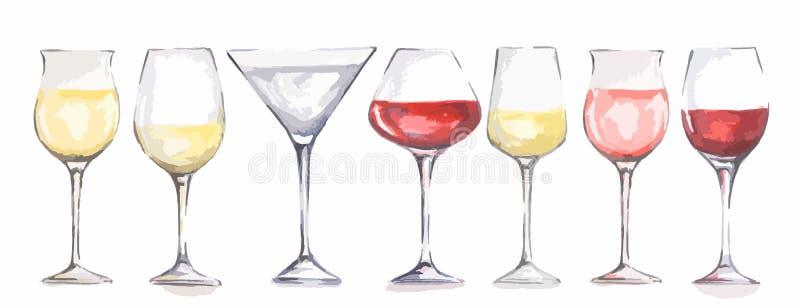 Verres de vin d'aquarelle réglés illustration de vecteur