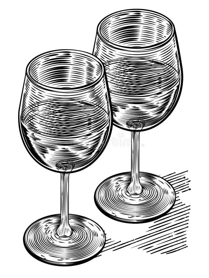 Verres de vin de style de bois de graveur de Vinatge illustration stock