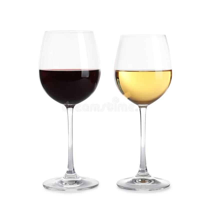Verres de vin diff?rent sur le blanc photographie stock