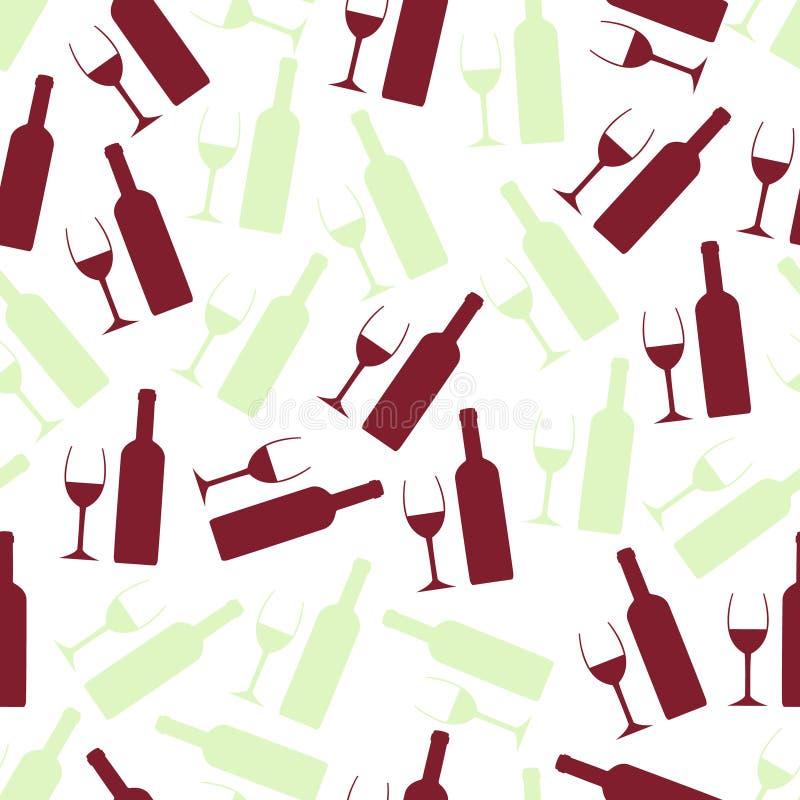 Verres de vin rouge et blanc et modèle sans couture de bouteille illustration stock