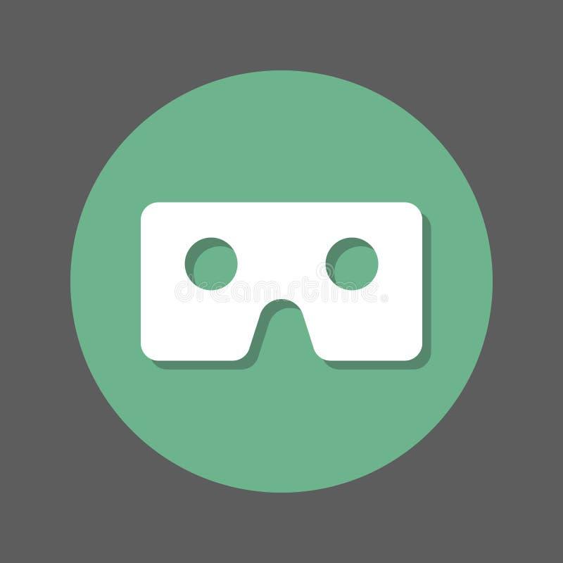 Verres de Vr, icône plate de carton de réalité virtuelle Bouton coloré rond, signe circulaire de vecteur avec l'effet d'ombre Con illustration libre de droits