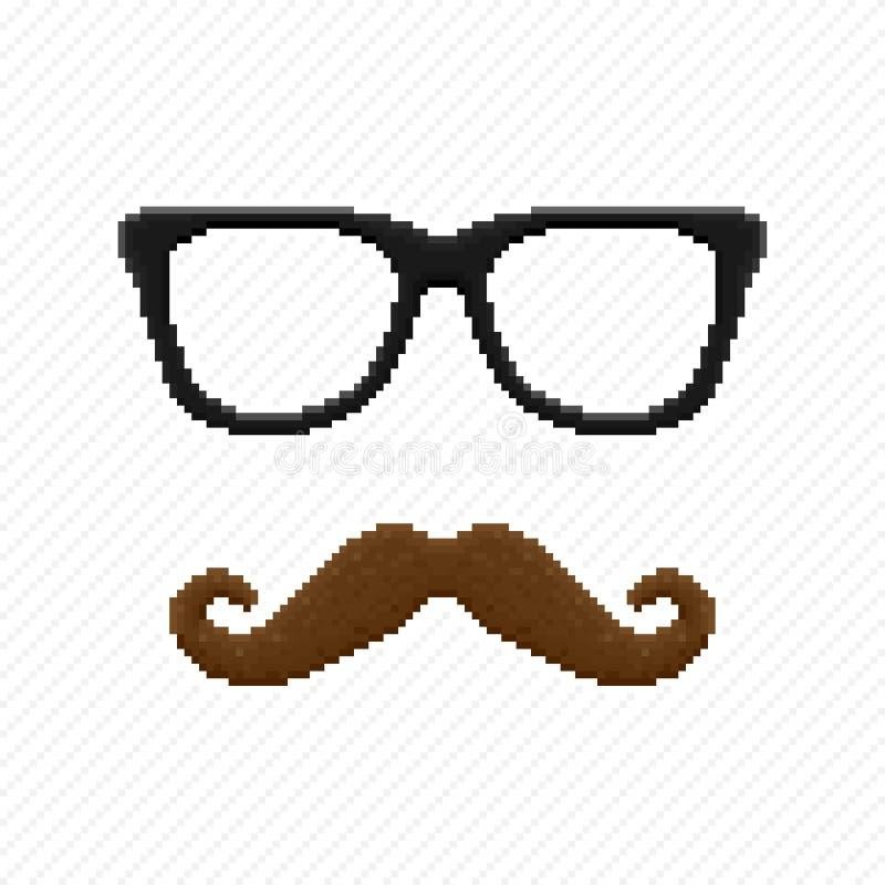 Verres et moustache de hippie de pixel illustration stock