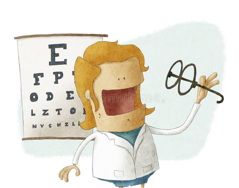 Verres femelles de prise d'ophtalmologue illustration stock