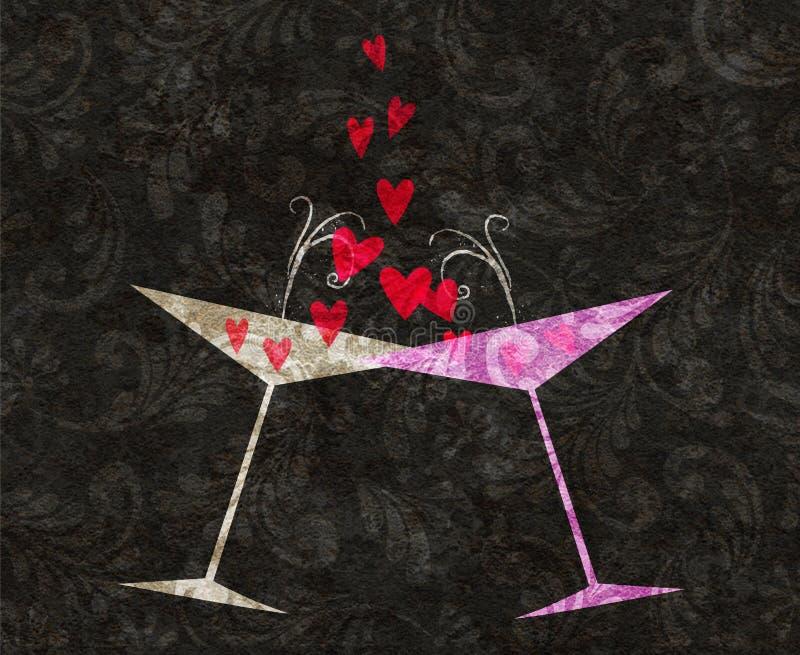 Verres inclinés de Champagne ou de Martini avec des coeurs illustration de vecteur