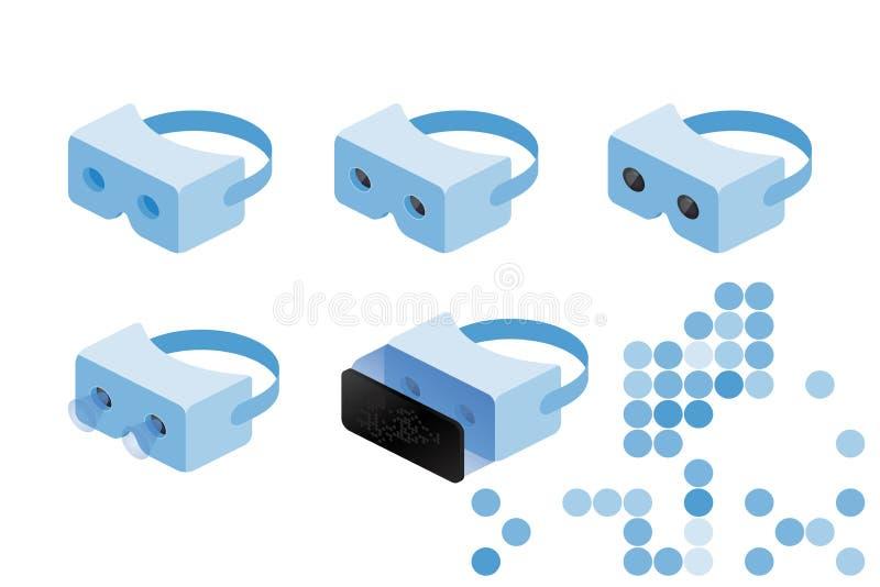 Verres isométriques réglés de VR de réalité virtuelle pour un smartphone sur un fond blanc Illustration plate EPS10 de vecteur illustration stock
