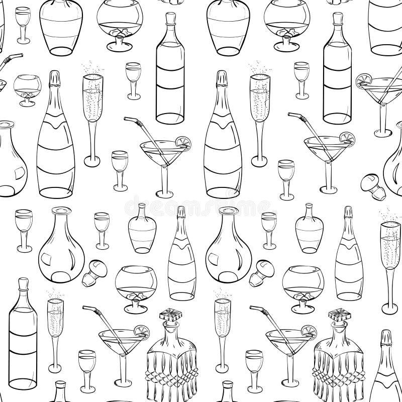 Verres noirs tirés par la main, bouteilles et décanteurs en verre Fond sans couture Verres de dessin de croquis d'isolement sur l illustration libre de droits