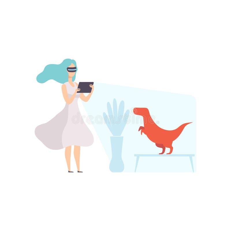 Verres numériques de port de réalité virtuelle de jeune femme regardant le dinosaure dans le musée paléontologique, utilisation d illustration de vecteur