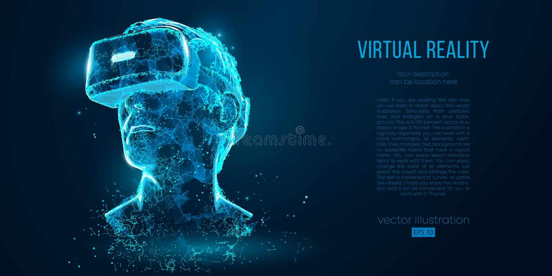 Verres olographes de réalité virtuelle de projection de casque de VR, casque Illustration géométrique de vecteur de bas poly ense illustration de vecteur