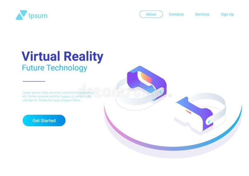 Verres plats isométriques de réalité virtuelle de casque de VR v illustration libre de droits