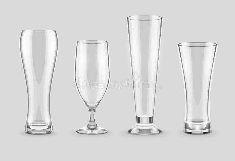 Verres pour la bière buvant dans l'ensemble vide de bar illustration libre de droits