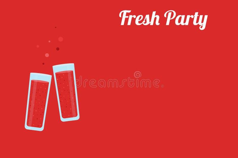 Verres tintants pleins du jus rouge de la fraise sur un fond rouge avec un endroit pour le texte illustration de vecteur