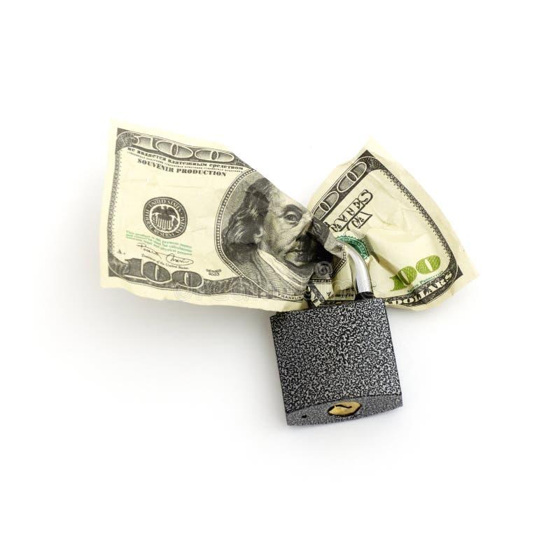 Verriegelung und Geld stockbilder