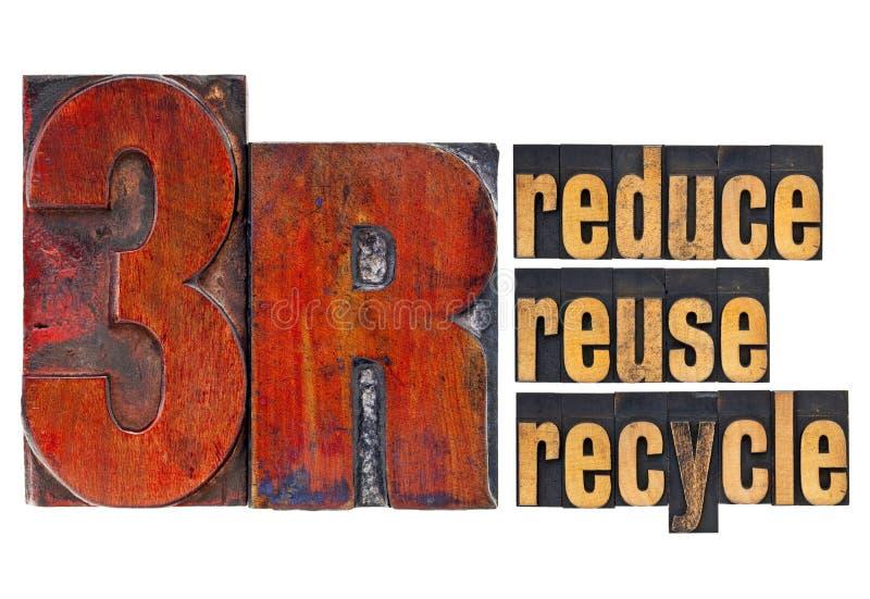 Verringern Sie, verwenden Sie wieder, bereiten Sie - Konzept 3R auf stockfotografie