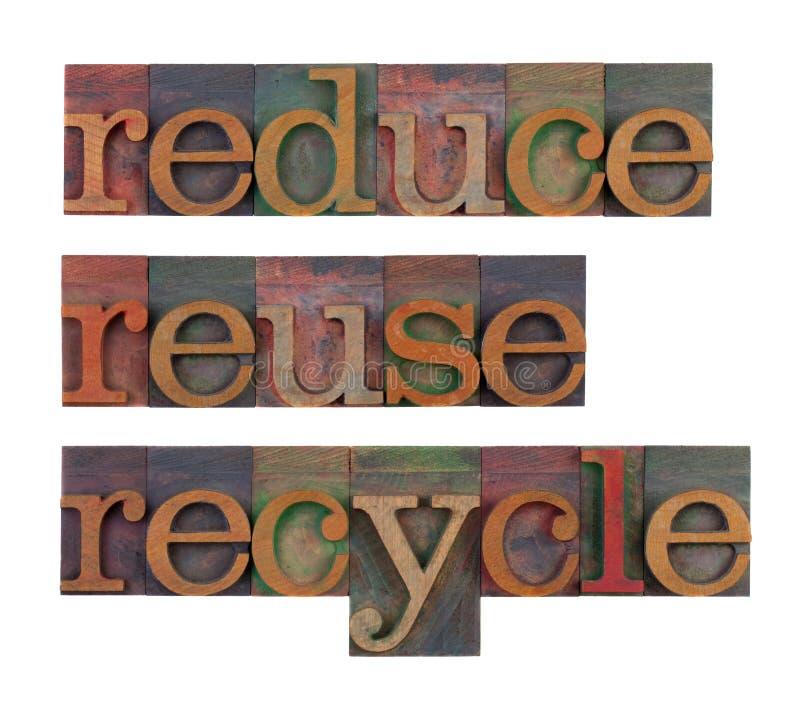 Verringern Sie, verwenden Sie wieder und bereiten Sie - Hilfsmittelerhaltung auf lizenzfreie stockbilder