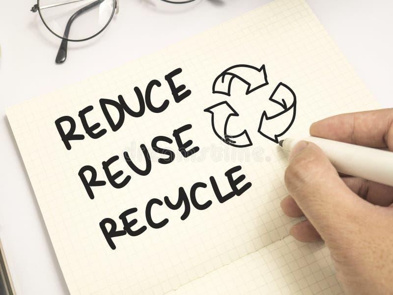 Verringern Sie Wiederverwendung aufbereiten, Motivwort-Zitat-Konzept lizenzfreies stockfoto