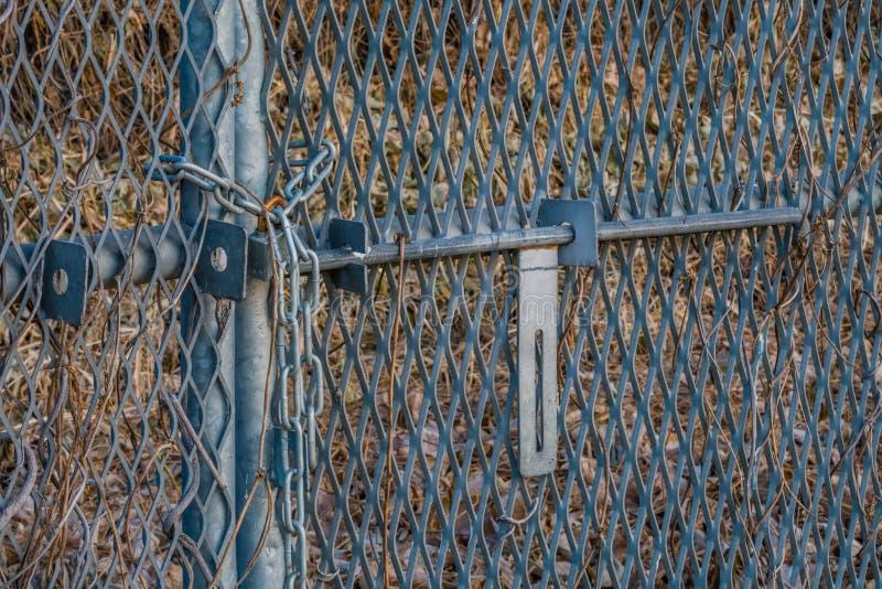 Verrostendes Vorhängeschloß auf Tor des Kettengliedzauns stockfotografie