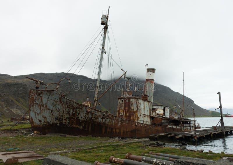 Verrostetes Walfang-Boot bei Grytviken Süd-Georgia lizenzfreies stockfoto