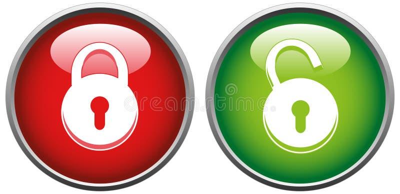 Verrouillez et déverrouillez le bouton illustration libre de droits