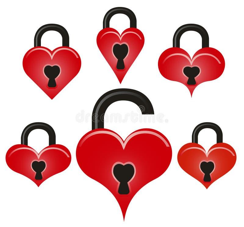 Verrouillez et déverrouillez les coeurs rouges illustration de vecteur