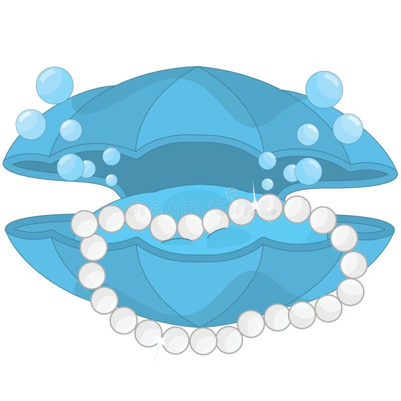 Verrukkelijke parelhalsband en Tweekleppige shell kist royalty-vrije illustratie