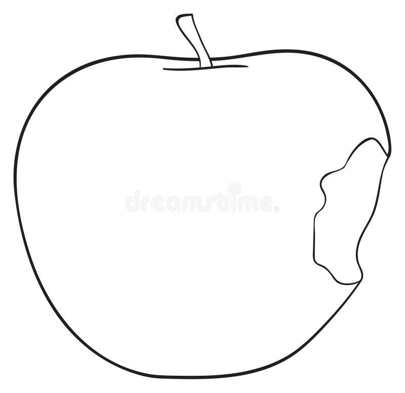 Verrukkelijke tuin - Gebeten appel met een stam vector illustratie