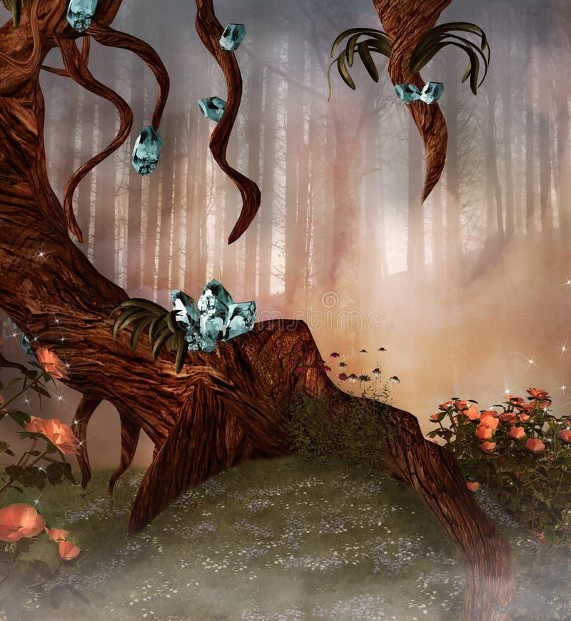 Verrukte boom met kristallen en bloemen vector illustratie