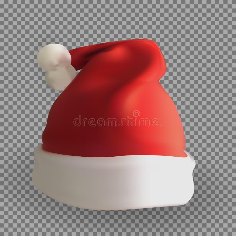 Versão 3D naturalista do chapéu de Santa Claus em um fundo transparente Ilustra??o do vetor ilustração do vetor
