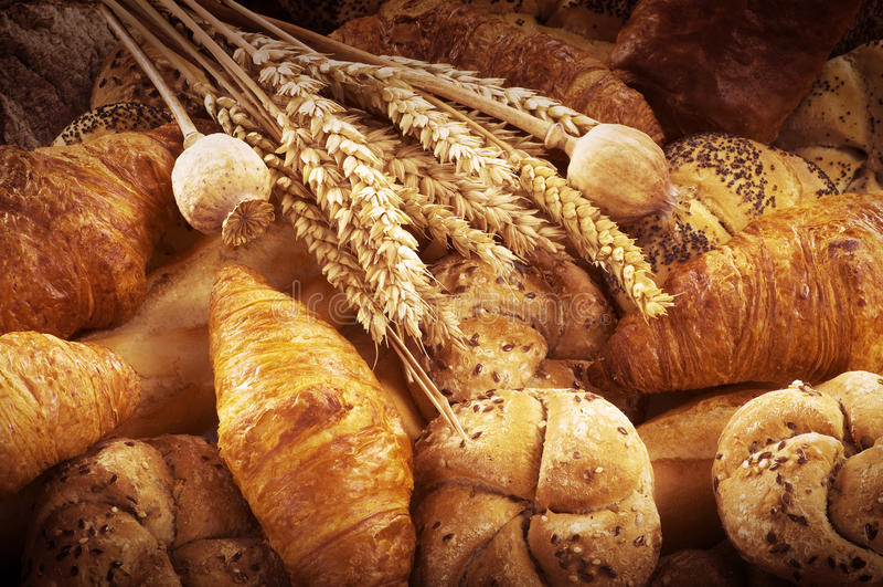 Vers brood en gebakje stock fotografie