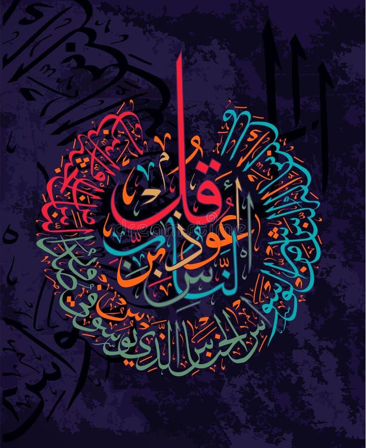Vers calligraphiques islamiques du l'Al-NAS 114 de Coran : pour la conception des moyens musulmans de vacances illustration libre de droits