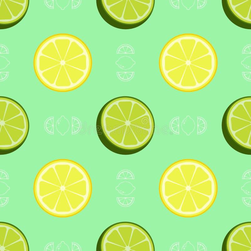Vers citroen en kalk naadloos patroon royalty-vrije stock afbeelding