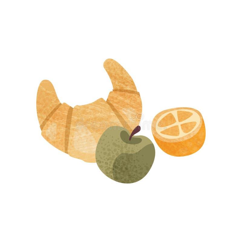Vers croissant, rijpe groene appel en de helft van sinaasappel Voedsel voor ontbijt of lunch Smakelijke snack Vlak vectorpictogra vector illustratie