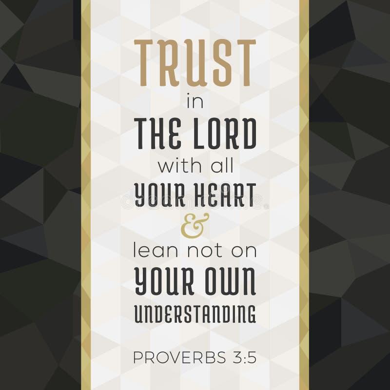 Vers de bible pour le chrétien ou le catholique au sujet de la confiance dans un dieu illustration stock