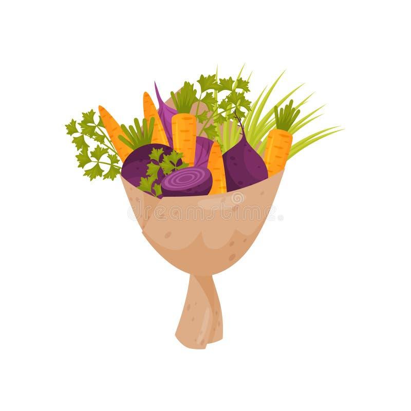 Vers die boeket van bieten, ui, peterselietakjes en wortel wordt gemaakt Rijpe groenten die in document worden verpakt Vlak vecto stock illustratie