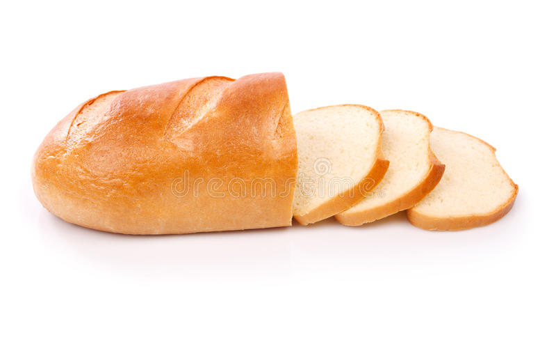 Vers die brood op witte achtergrond wordt geïsoleerd stock afbeeldingen