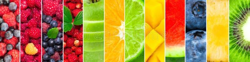 Vers die fruit en bessen van watermeloen, ananas, kiwi, bosbes, mango, kalk, sinaasappel, appel, aardbei wordt gemengd royalty-vrije stock fotografie