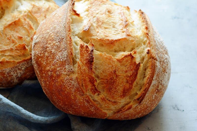 Vers eigengemaakt brood op een grijze achtergrond kernachtig Het Frans kweekte Brood bij zuurdeeg Ongedesemd brood royalty-vrije stock foto