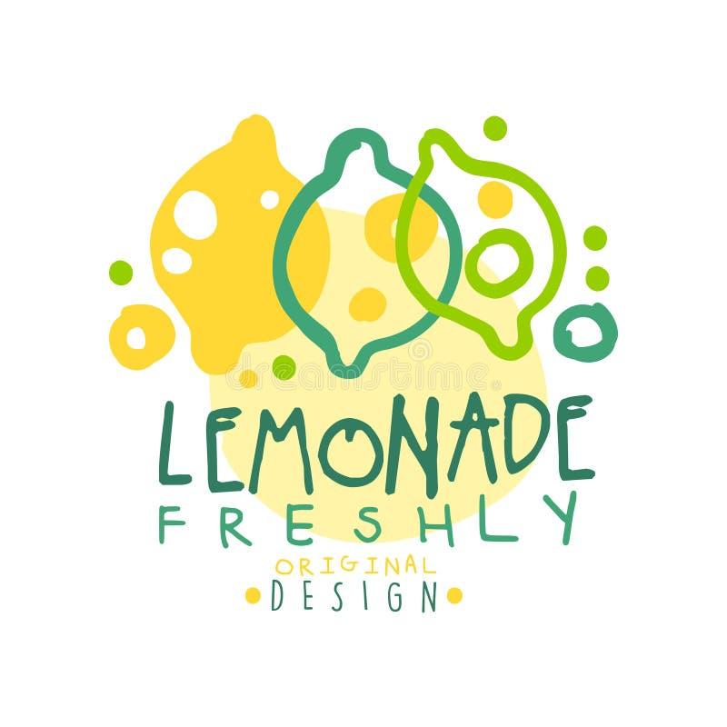 Vers embleem van het limonade het originele ontwerp, de kleurrijke hand getrokken vectorillustratie van het natuurlijk productken stock illustratie