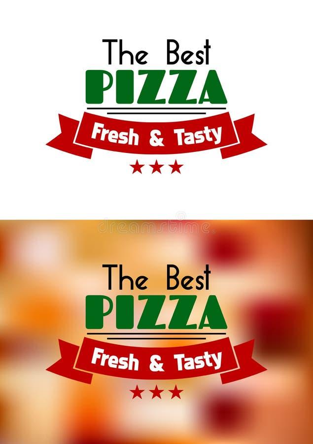 Vers en smakelijk pizzaetiket stock illustratie
