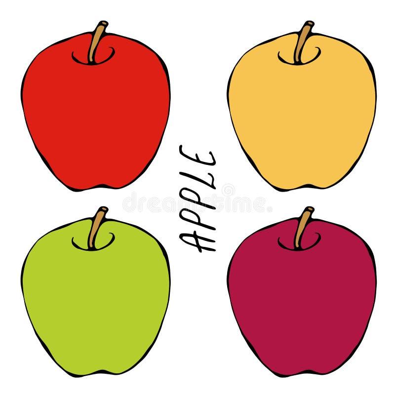 Vers Fruit Rood, Groen, Geel Apple en het Dieet van de Bladvoeding De herfst of Dalings Plantaardige Oogstinzameling Realistische stock illustratie