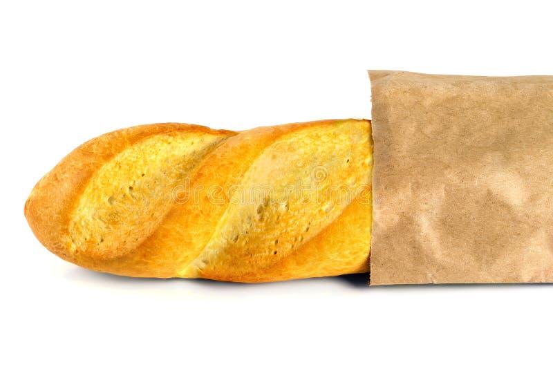 Vers gebakken baguette gestold in een zak document stock afbeelding