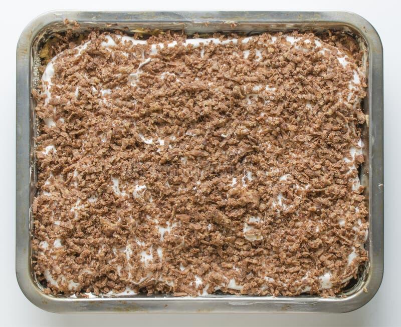 Vers gebakken eigengemaakte appeltaart met gegoten suiker royalty-vrije stock foto's
