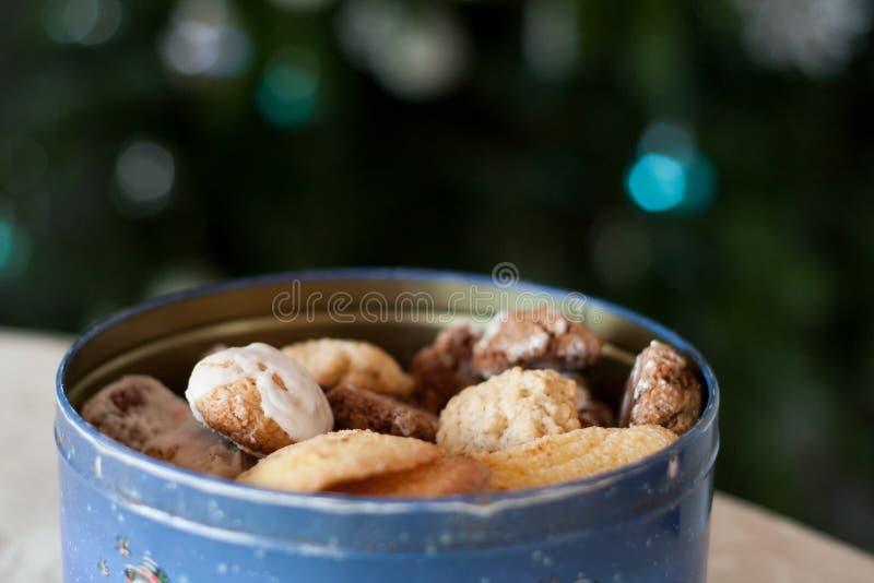 Vers gebakken Kerstmiskoekjes in een mooie metaalcontainer royalty-vrije stock foto