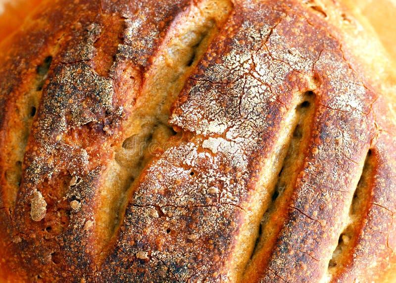 Achtergrond met vers gebakken zuurdesembrood stock foto