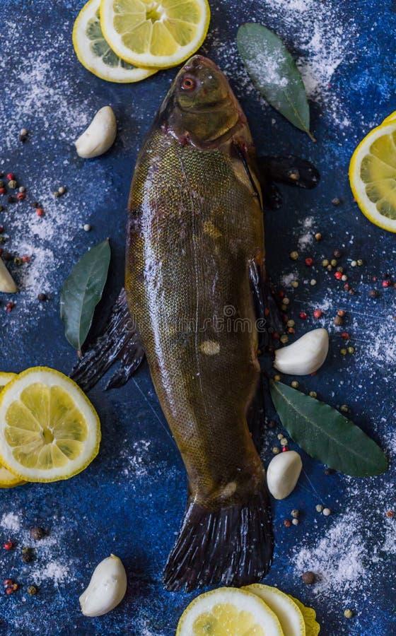 Vers, gevangen die in de rivierzeelten, voor het roosteren in de oven met knoflook en citroen worden gekookt royalty-vrije stock foto
