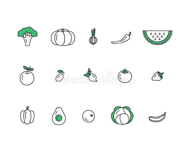 Vers gezond fruit en plantaardige die pictogrammen in de in vector van de lijnstijl wordt gemaakt royalty-vrije illustratie