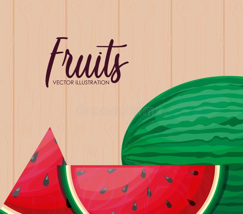 Vers gezond watermeloenfruit met gesneden royalty-vrije illustratie