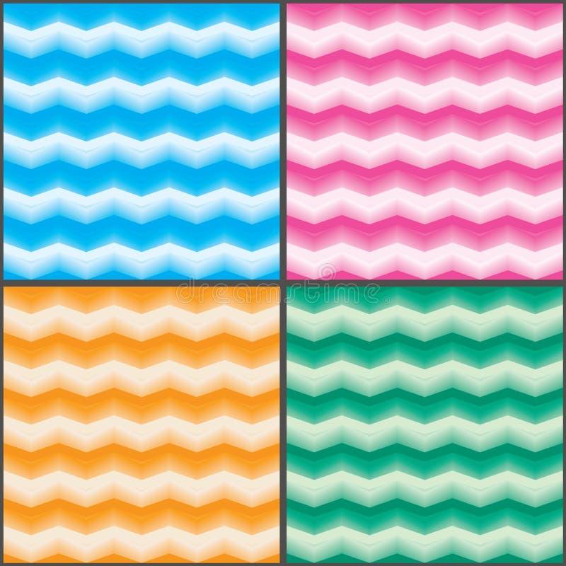 Vers het effect van de chevronkleur vastgesteld naadloos patroon vector illustratie