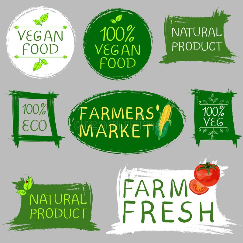 Vers het voedsel van de landbouwers` markt en van het veganistvoedsel embleem Hand getrokken die illustraties op grijs worden geï vector illustratie
