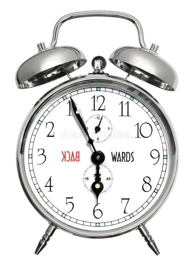 Vers l'arrière horloge d'alarme image libre de droits