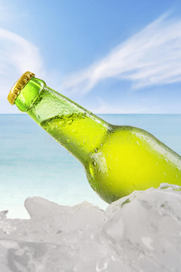 Vers lagerbier in de fles met ijsblokje stock afbeeldingen